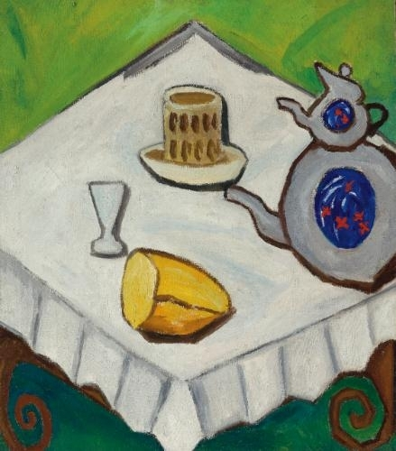 Artwork by Mikhail Larionov, Still Life in a Tavern in a Minor Key, Made of oil on canvas