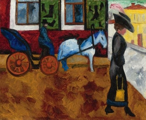 Artwork by Natalia Goncharova, Street in Moscow, Made of oil on canvas