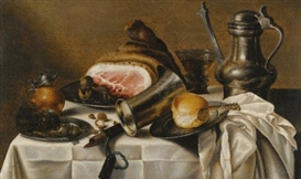 Pieter Claesz, A STILL LIFE OF HAM, A PEWTER PLATE, A PEWTER PITCHER, A GLASS ROEMER, HAZELNUTS, A BREAD ROLL AND OTHER OBJECTS ON A WHITE TABLE CLOTH