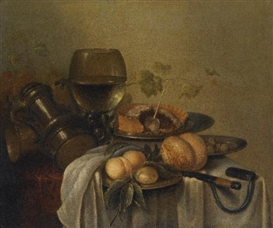 Pieter Claesz, A STILL LIFE WITH A MEAT PIE, BREAD, A GLASS ROEMER AND OTHER OBJECTS ON A TABLE