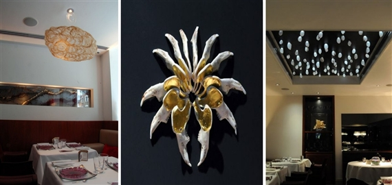 From Left to Right: Installation view, The Wish Of The Witness at Pied A Terre; Untitled, Rabbit Jaw Bone, and Dining Room View of the exhibit. All Work by Elpisa Hadzi-Vasileva; images courtsey of the artist