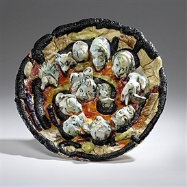 Artwork by Viola Frey, Untitled Plate, Made of Ceramic and Egyptian Paste