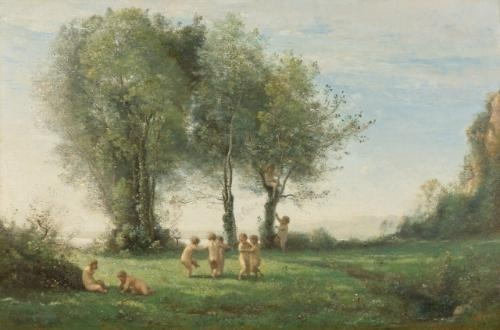 Artwork by Jean Baptiste Camille Corot, Ronde D'Amours: Lever du Soleil, Made of oil on canvas