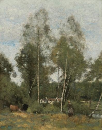 Artwork by Jean Baptiste Camille Corot, Clairière du Bois Pierre, aux Evaux, prés Château-Thierry, Made of oil on panel