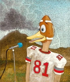 Artwork by Sean Landers, Football Duck, Made of oil on linen