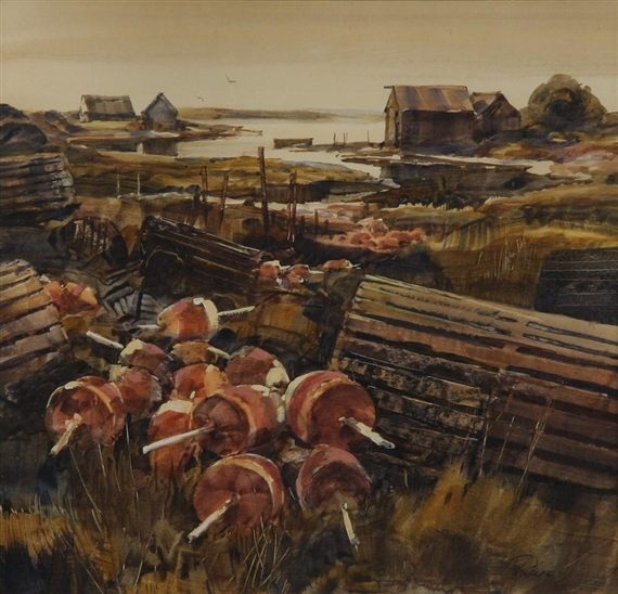 Calendar Art Peter Rolfe : Rolfe peter lobster traps and buoys mutualart