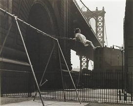 Artwork by Walter Rosenblum, Child on a Swing, Pitt Street, New York, 1938, Made of Gelatin silver print