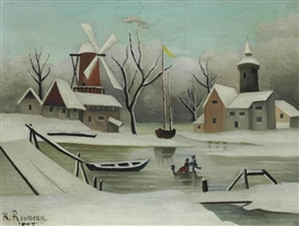 Artwork by Henri Rousseau, L'Hiver, Made of oil on canvas