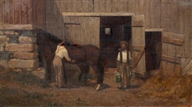Artwork by Louis Comfort Tiffany, The Stables, Made of Oil on canvas