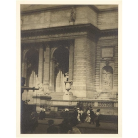Artwork by Karl Struss, N. Y. Public Library 1914, Made of platinum toned vintage gelatin silver print