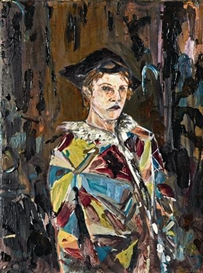 Artwork by Hernan Bas, Untitled (The Harlequin, Masked), Made of Mixed media on canvas