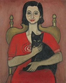 Alice Neel, Untitled (Woman with Cat)