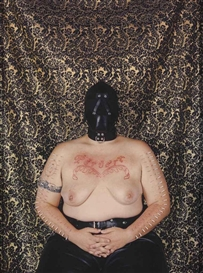 Artwork by Catherine Opie, Self-Portrait/Pervert, Made of chromogenic print mounted on foamcore