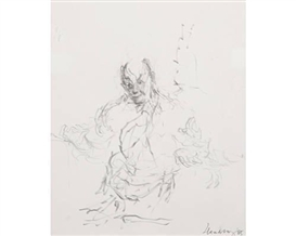 Artwork by Maggi Hambling, Study of Sir George Solti conducting at Snape, Made of pencil