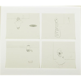 Artwork by Nicola Tyson, Group # (4 parts, framed together), Made of Graphite on paper