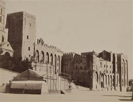 Artwork by Édouard-Denis Baldus, Palais des Papes, Avignon, ca.1862, Made of Albumen print on contemporary card mount