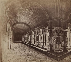 Artwork by Édouard-Denis Baldus, The Cloisters of Saint Trophime, Arles, 1851, Made of Albumen print on contemporary card mount