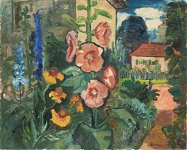 Artwork by Hans Jüchser, Garten mit Malven und Rittersporn, Made of Oil on canvas