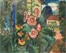 Hans Jüchser, Garten mit Malven und Rittersporn