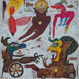Artwork by Heri Dono, Life in the Wayang Land III, Made of acrylic and collage on canvas