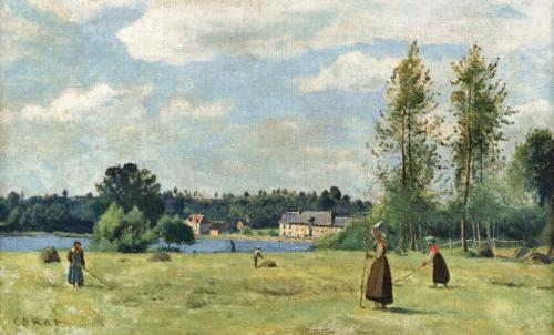Artwork by Jean Baptiste Camille Corot, Faneuses à Ville d'Avray, Made of oil on canvas