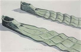 Artwork by Los Carpinteros, Patas de rana plizadas, Made of Watercolor and graphite on paper
