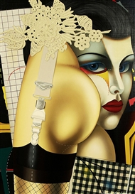 Artwork by Shimon Okshteyn, Woman with a Painted Face, Made of serigraph on canvas