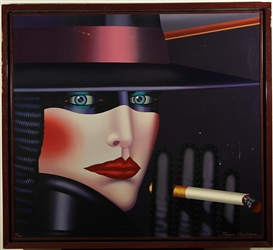 Artwork by Shimon Okshteyn, Smoking Woman, Made of serigraph on canvas