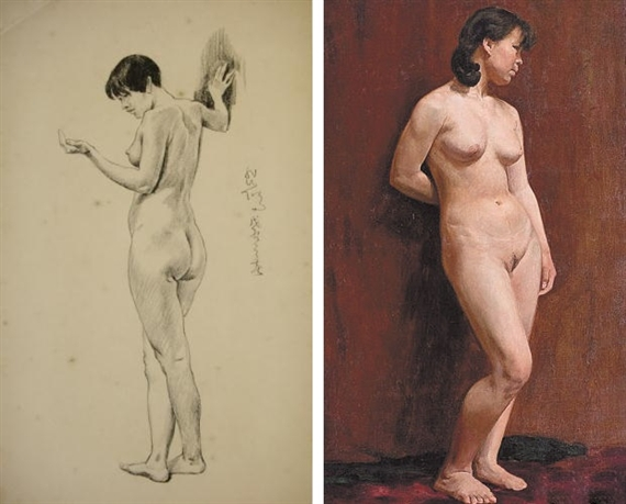 Left: Standing Nude, 1928 by Xu Beihong; Right: The work in question
