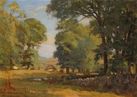 Artwork by Leonard Brooks, CATTLE GRAZING BENEATH THE TREES, Made of oil on board