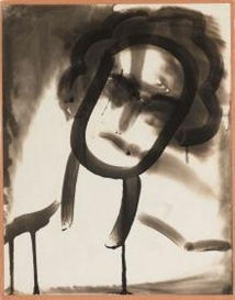 Artwork by Edmund Teske, Untitled (Emulsion Drawing of Head), Made of Vintage gelatin silver solarized cliche verre