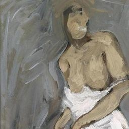 Artwork by Alfons Walde, Standing female nude with black stockings and a white shirt, Made of oil on paper, mounted on canvas