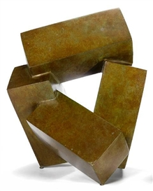 Artwork by Jacques Schnier, Four Cuboids on Three Points, Made of bronze