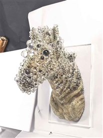 Artwork by Kohei Nawa, PixCell - Zebra, Made of crystal, glass, mixed media sculpture