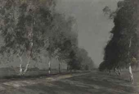 Artwork by Isaac Levitan, Study for 'Moonlit night', and other works, Made of oil on card