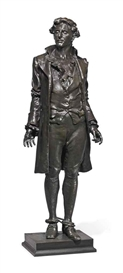 Artwork by Frederick William MacMonnies, 'Nathan Hale', Made of bronze with brown patina