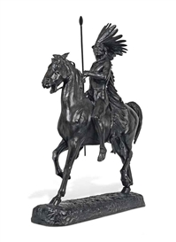 Artwork by Alexander Phimister Proctor, 'Indian Warrior', Made of bronze with brown patina