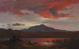 Artwork by Frederic Edwin Church, Twilight, Made of oil on canvas tacked over board