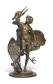 Artwork by Frederick William MacMonnies, 'Young Faun with Heron', Made of bronze with greenish-brown patina