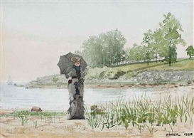 Artwork by Winslow Homer, Young Woman, Made of watercolor, gouache and pencil on paper