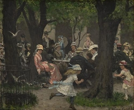 Artwork by Erik Werenskiold, Scene from a park, Munich, Made of Oil on canvas