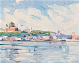 Artwork by Francesco Iacurto, View of Quebec from Levis, Made of Oil on board