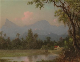 Artwork by Martin Johnson Heade, South American Scene with a Cabin, Made of oil on board