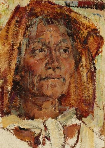 Nicolai fechin the golden kerchief oil on panel for Nicolai fechin paintings for sale
