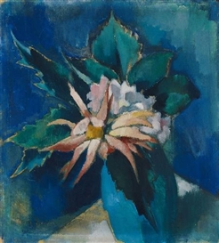 Artwork by Heinrich Nauen, BLUMEN IN BLAUER VASE, Made of Tempera on painter`s cardboard