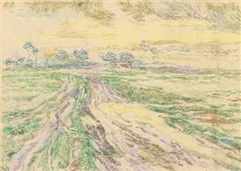 Artwork by Henry van de Velde, KALMTHOUTSE HEIDE (CHEMIN EN LISIÈRE), Made of Coloured pastel chalk on ivory-coloured drawing paper