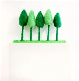 Artwork by Kathy Temin, Landscape Trees, Made of synthetic fur, synthetic filling, cotton thread, wool and stell. Wooden base