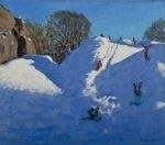 Artwork by Andrew Macara, Winter, Black Rocks, Wirksworth Derbyshire, Made of Oil on canvas