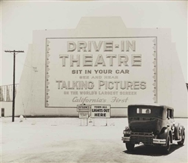 Artwork by John Gutmann, Entrance, First Drive-in Theater, Los Angeles, Made of gelatin silver print