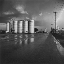 Artwork by Frank Gohlke, Grain Elevator and Lightning Flash - Lamesa, Texas, Made of gelatin silver print